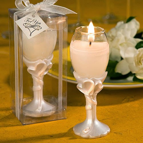 20 Double Heart Design Champagne Flute Candle -