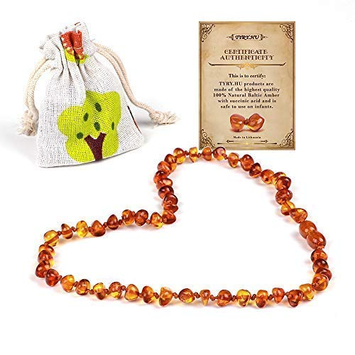 TYRY.HU Baltic Amber Teething Necklace for Baby Boys Girls, Anti-Inflammatory, Drooling & Teething Relief, Natural Remedy Calm The Nerves Help Sleep, Certificated Natural Jewelry (Cognac)
