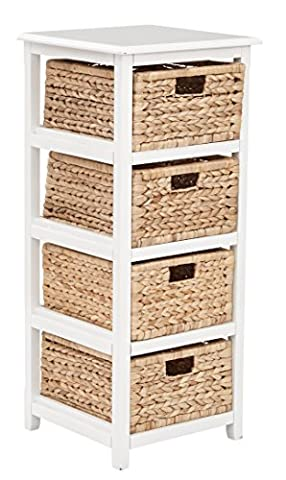 OSP Designs Seabrook Four-Tier Storage Unit with Finish and Natural Baskets, White - Design 4 Shelf