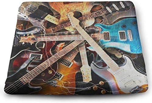 スクエアクッションマジックエレキギターミュージックプレミアム快適メモリーフォームキッチンチェアクッション