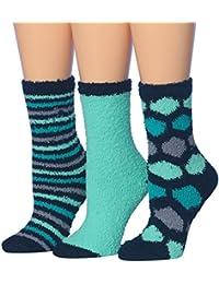 Women's 3-Pairs Cozy Microfiber Anti-Skid Soft Fuzzy Crew Socks