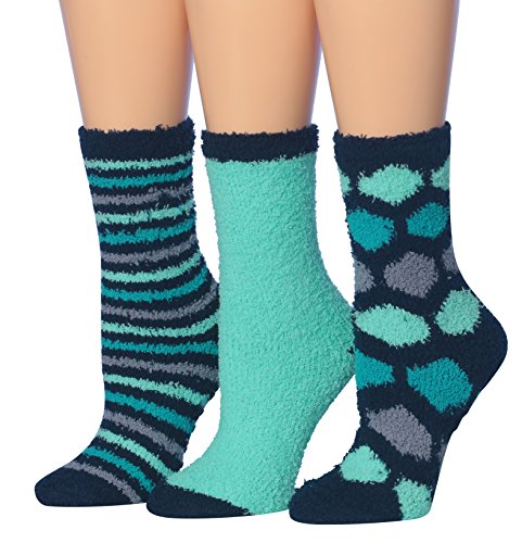Tipi Toe Women's 3-Pairs Winter Snoflakes Anti-Skid Soft Fuzzy Crew Winter Socks, (sock size 9-11) Fits shoe size 6-9, FZ08-A Snuggle Socks
