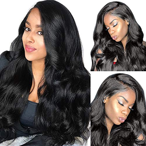 9A Unprocessed Virgin Brazilian Human Hair Wigs For Black Women (20inch,13x4 lace wig) Body Wave Lace Front Wigs With Baby Hair 130% Density Natural Black Women shuangya hair