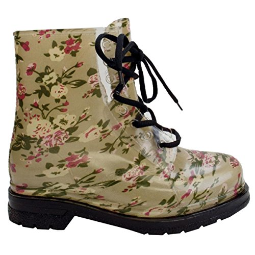 Print Clear Beige Shoes Martin Rubber Color Laceup TransparentRound Rain Womens Toe Waterproof Boot Jelly Ankle wF6UIx