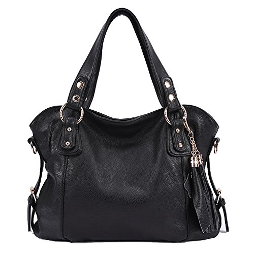 Designer Handbags Tote, Purses Handbag Waterproof Leather Tassel Large Handbags and Shoulder Bags (Black) (Designer Charms Purses)