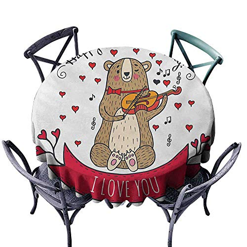 Round Tablecloth,Valentines Day,Teddy Bear with Violin Made with Love Romantic Music Notes Heart I Love You,Party Decorations Table Cover Cloth,60 INCH,Red Brown