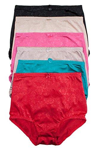 Barbra's 6 Pack Women's High-Waist Tummy Control Girdle Panties (X-Large, Silky Flower)