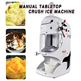 Crush Ice Machine, TBVECHI 110V/50Hz 350W Ice Shaver Shaved Manual Tabletop Crush Ice Machine Stainless Steel Shaved Ice Shaver Snow Cone Maker New