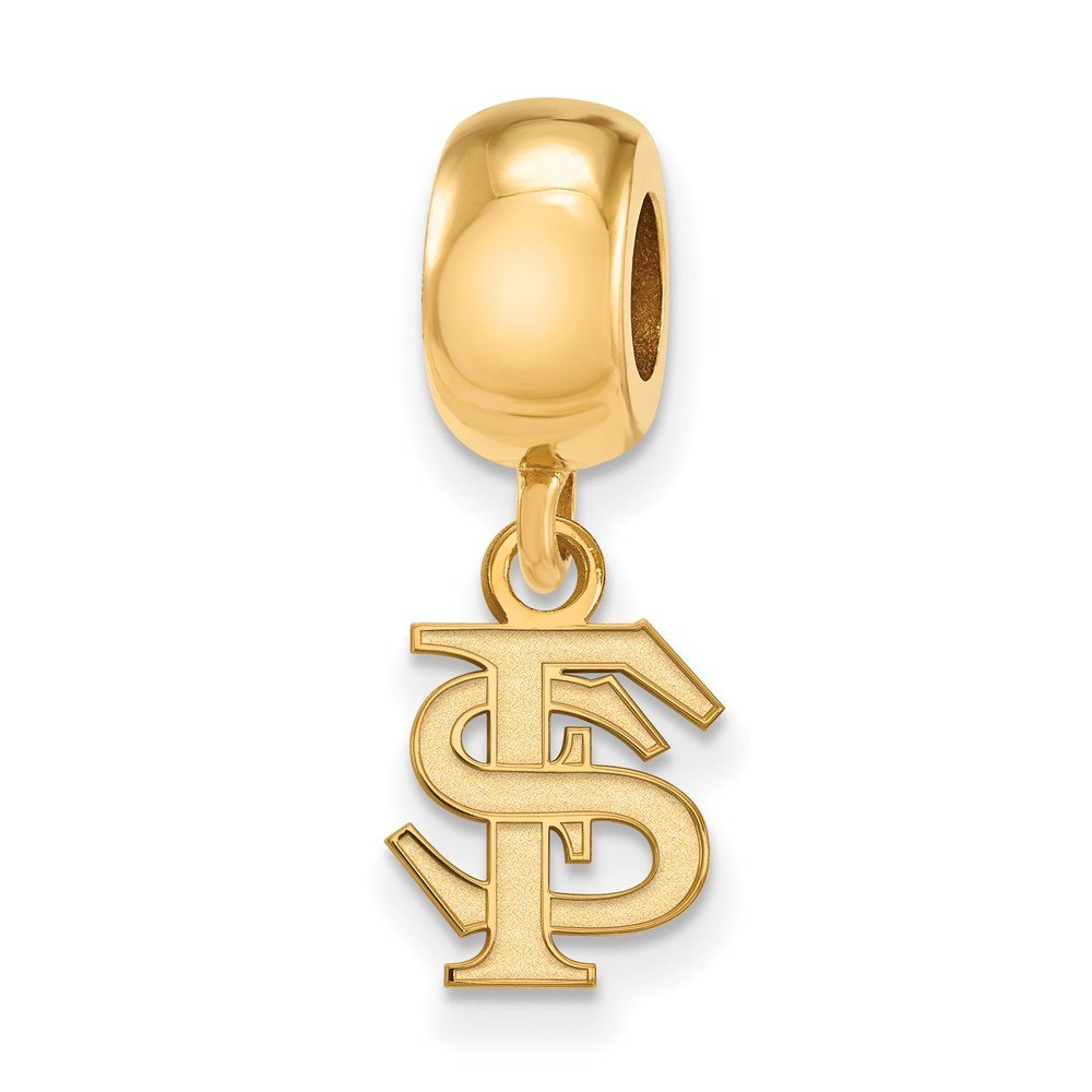 Jewel Tie 925 Sterling Silver with Gold-Toned Florida State University Extra Small Dangle Bead Charm Very Small Pendant Charm 6mm x 19mm