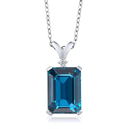 Gem Stone King 8.52 Ct Emerald Cut London Blue Topaz and White Diamond 925 Sterling Silver Pendant Necklace with 18 Inch Silver Chain