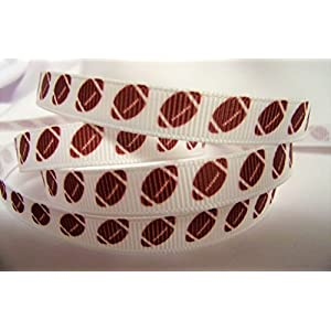 "Grosgrain Ribbon - Football Print On White Ribbon - 3/8"" Wide - 10 Yards Hair Bows & Crafts! 116"