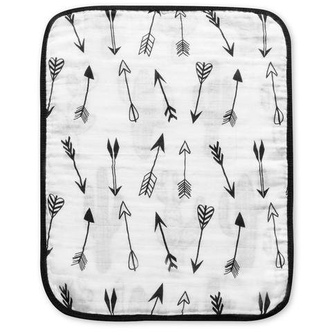 Chenille Bib Burp Cloth (4 Layer Reversible 100% Organic Cotton Muslin Burp Cloth (Cactus and Arrows))