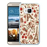 France Paris Love City Eiffel Tower Floral Pattern White Shell Phone Case for HTC ONE M9,Beautiful Case