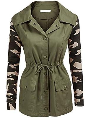 BeautyUU Unibelle Women's Casual Military Camo Lightweight Button Outwear Jacket S-XXL