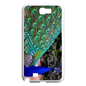 good case LIULAOSHI Cute Peacock Pattern cell phone case cover for a7nmbhQxAFW samsung galaxy note2 White