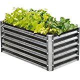 EarthMark MGB-H042 Alto Series 22 x 40 x 17 in. Rectangle Galvanized Metal Raised Garden Bed