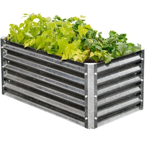 (EarthMark MGB-H042 Alto Series 22 x 40 x 17 in. Rectangle Galvanized Metal Raised Garden Bed)