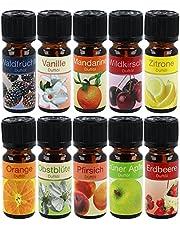 """COM-FOUR® 10x olika doftande oljor - Rumsdoft""""Fruit"""" - Doftolja för aromdiffusorer, luftfräschare, vattenförångare, luftfuktare (10 stycken - frukt)"""