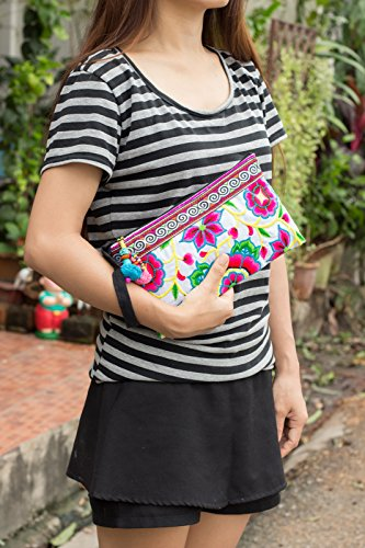 Changnoi Hmong Clutch Thai White Bags Trade Fair Tribe Hill Fabric Silk Pink Worm Handmade 4Cq4TwR