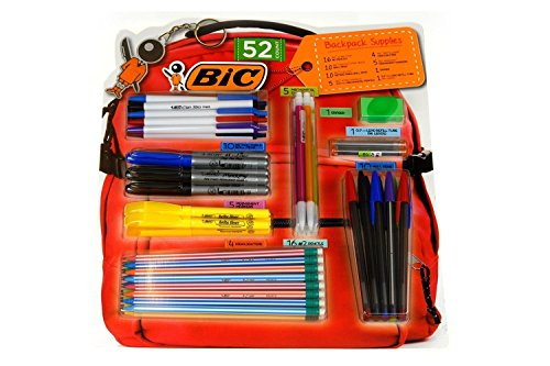 BIC 52 Count Backpack Supplies - Pencils, Pens, Markers, Highlighters