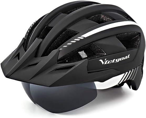 VICTGOAL Casco Bicicleta Adulto con Luz LED Casco de Ciclismo Ajustable MTB Casco Bicicleta de Montaña para Hombres Mujeres 57-61 CM