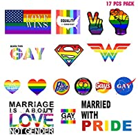The Original Gay Pride Stickers LGBT Rainbow Variety Pack for Laptop Bicycle Wall Decor Bumper Sticker 17 pcs Pack