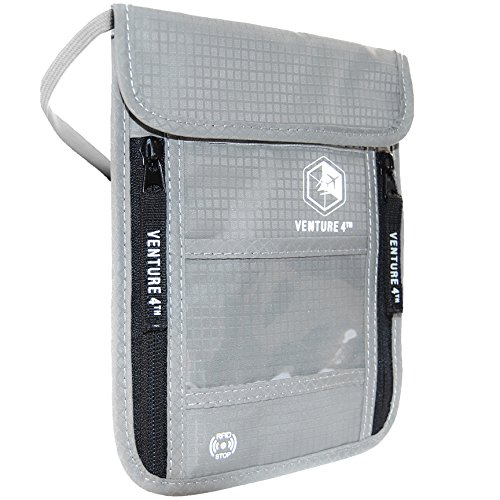 Pouch with RFID Blocking Travel Neck Wallet (Silver) ()