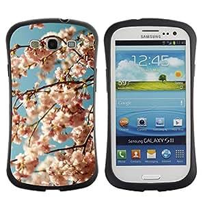 LASTONE PHONE CASE / Suave Silicona Caso Carcasa de Caucho Funda para Samsung Galaxy S3 I9300 / Blue White Blooming Bloom Apple Tree