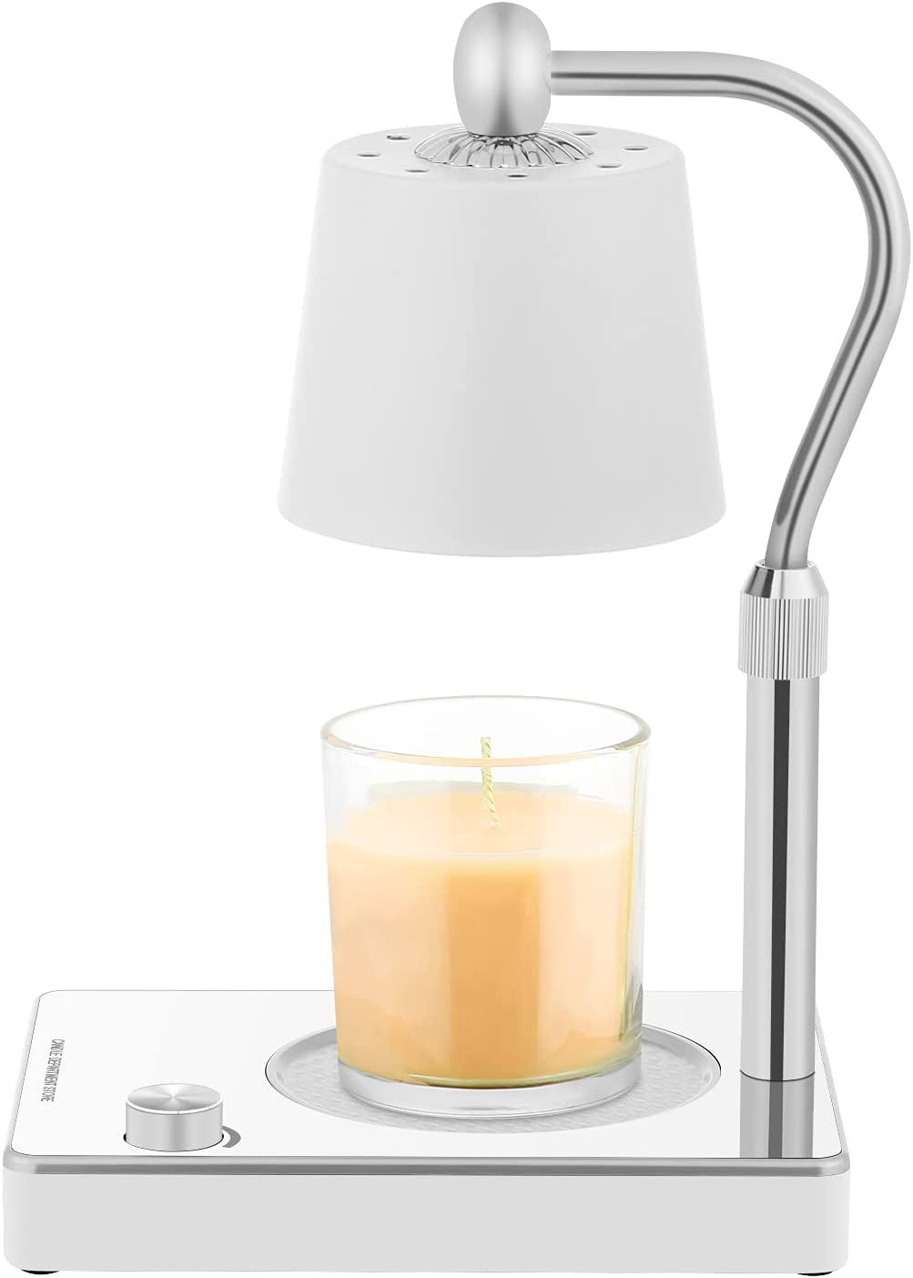 Candle Warmer, Candle Lamp Warmer, Electric Candle Wax Warmer, No Flame Candle Lamp Adjustable Height and Brightness Warmer Lamp for Bedroom Decor(Silver)
