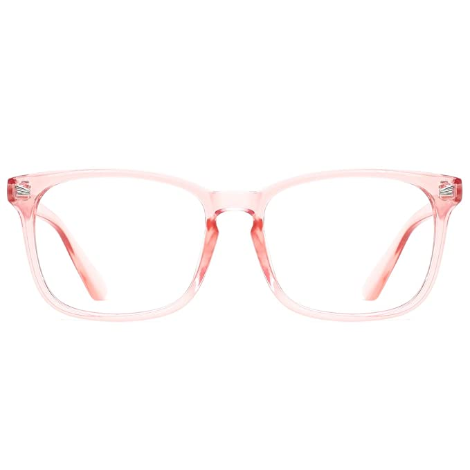 f14b96647a Image Unavailable. Image not available for. Color  TIJN Blue Light Blocking  Glasses Square Nerd Eyeglasses Frame ...