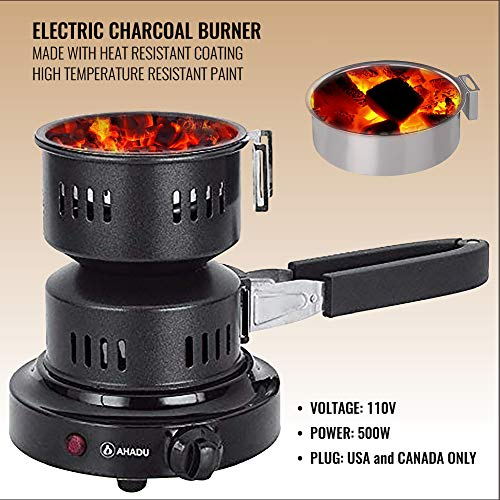 AHADU, AHCS-101, The New [2019 Upgraded] Electric Charcoal Burner/Starter with Detachable Rubber Tong, Durable and Heat Resistant Heating Element & Low Electricity Usage