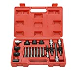 8MILELAKE 18 Pcs Alternator Pulley Service Decoupler Insert Bit Socket Set Tool Kit Car Pulley Removal Decoupling Puller