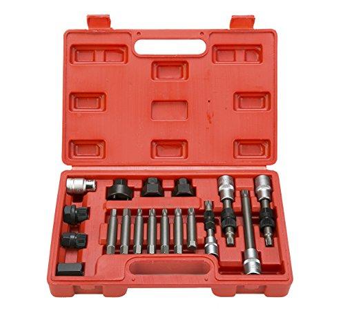 ernator Pulley Service Decoupler Insert Bit Socket Set Tool Kit Car Pulley Removal Decoupling Puller ()