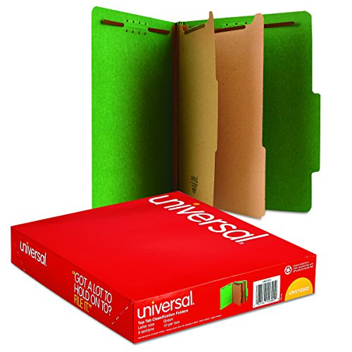 Universal 10302 Pressboard Classification Folders, Letter, Six-Section, Emerald Green (Box of 10)