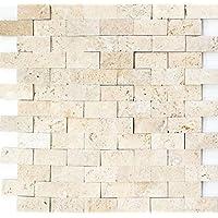 Mosaico baldosas Travertin piedra natural beige Brick Splitface