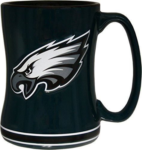 (Philadelphia Eagles 15 Ounce Sculpted Logo Relief Coffee Mug)