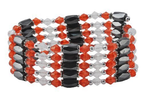 (Mandala Crafts Red White Magnetic Simulated Hematite Beaded Necklace, Wrap Bracelet, Anklet)