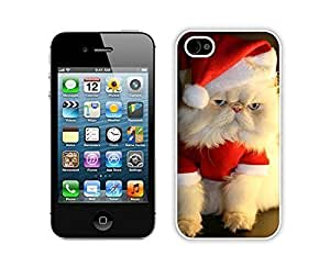 Personalization Christmas Cat White iPhone 4 4S Case 14