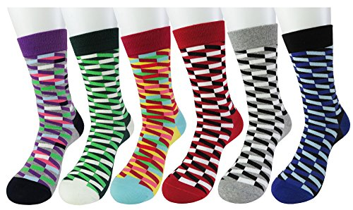 WEILAI SOCKS Men's 6 Pack High Cotton Gradient Lattice Pattern Luxury Comfortable Casual Dress Socks