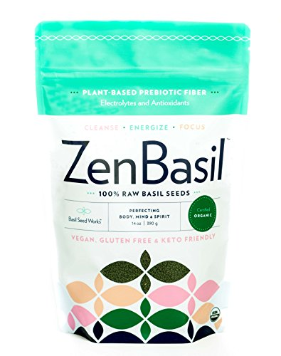 Zen Basil - Edible Basil Seeds, Raw Premium USDA Organic, 14 oz bag (390 grams) (1)