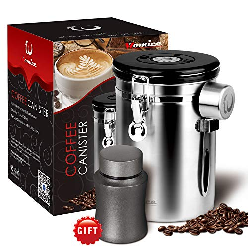 Womice 22 oz Coffee Bean Container with Scoop, Coffee Bag and Travel Jar - Stainless Steel Airtight Storage Canister with Co2 Gas Release and Calendar ()