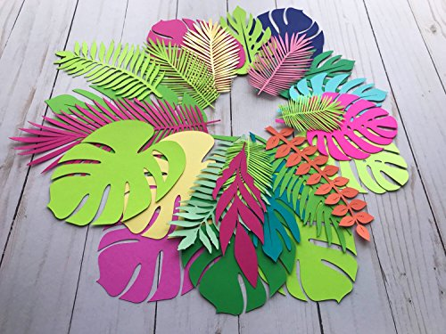 Paper leaves, green leaves, leaves cut outs, Pack of 20 assorted leaves, palm leaves, palm leaf, tropical leaves