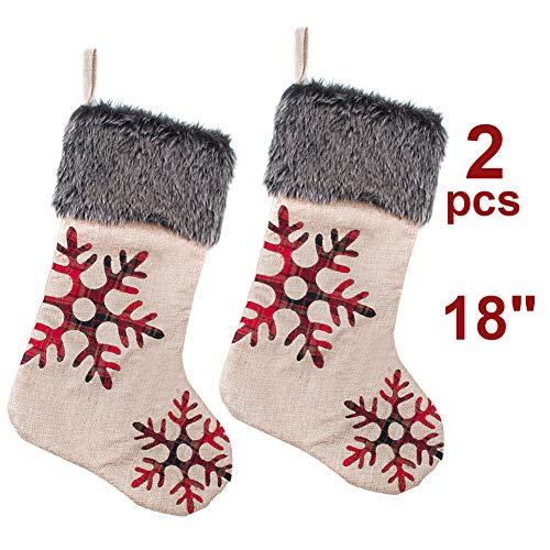 TDW 18 inch Set of 2 Red Buffalo Plaid Snowflake Christmas Stocking, Burlap Plaid Embroidered Snowflake with Faux Fur Cuff Christmas Stocking, Rustic Xmas Tree Stockings Decoration
