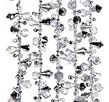 Kurt Adler Iridescent Silver Large Twinkle Ice Double Twist Bead Garland, 14-feet
