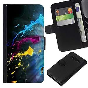 KLONGSHOP // Tirón de la caja Cartera de cuero con ranuras para tarjetas - Color Splash - Samsung Galaxy Core Prime //