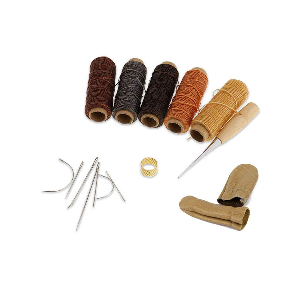 14 Pieces Leather Waxed Thread Sewing Thread Needles Stitching Craft Tools Kit + Cowhide Leather Finger Cots Covers Sleeves shangmu