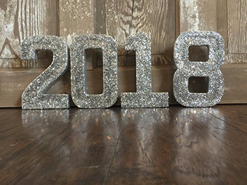 Silver Glitter 2018 New Years Decoration, Graduation Party Decorative Numbers, Photo Prop, Graduation 2018 Party Centerpiece