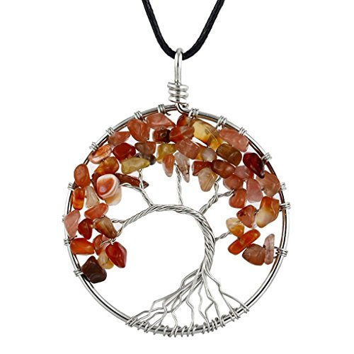 (AUWU Women Natural Crystal Stone Lucky Life Tree Pendant Necklace Ladies Multicolor Wisdom Tree Leather Chain )