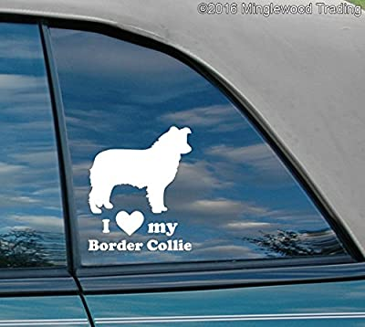 "Minglewood Trading I love my Border Collie vinyl decal sticker 5"" x 6"""