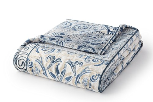 - Fraiche Maison T1111068-MM-C124 Velvet Plush Throw Blue Tile Floral,